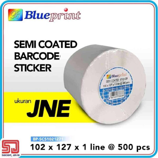 Sticker Label Barcode Blueprint 102x127x1