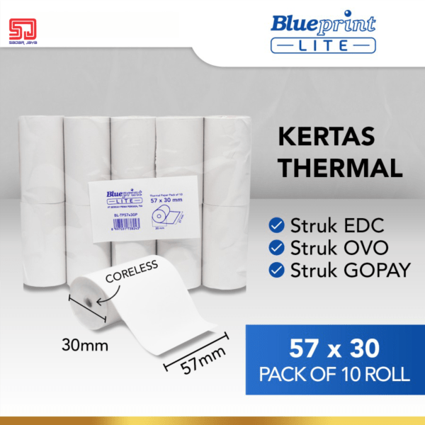 Blueprint Lite Paper Thermal EDC 57×30mm Isi 10 Roll